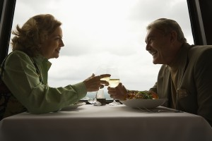 mature couple on a date at a restaurant